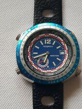 Tegrov Automatikuhr NOS Style blaues Ziffernblatt ungetragen Armbanduhr neu