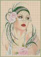 Art Deco Lady w/ Green Hat/Pink Roses Counted Cross Stitch COMPLETE KIT- No.1-3b