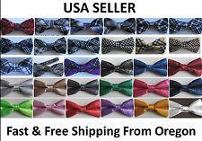 Men's Tuxedo Classic Bowtie Multi Style Neckwear Adjustable Bow Tie - USA Seller