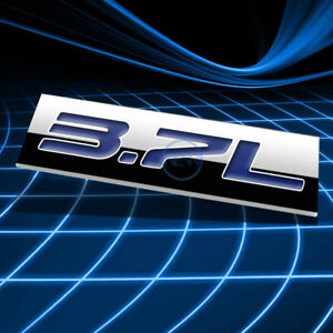 METAL 3D EMBLEM DECAL LOGO TRIM BADGE STICKER POLISHED CHROME BLUE 3.7L 3.7 L