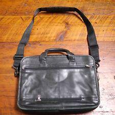TUMI Black Leather Soft Padded Laptop Bag Travel Briefcase + Shoulder Strap