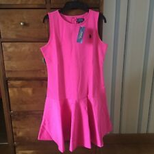 BNWT Ralph Lauren Solid Ponte Ultra Pink Dress Size Age 15-16 Yrs RRP £75