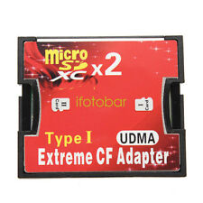 Dual Micro SD SDHC SDXC TF to CF Adapter Compact Flash Type I Card Converter