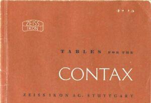 Zeiss Lens Depth of Focus Tables for Contax 1952 Original