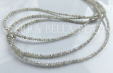 "1"" natural genuine DIAMOND faceted gem stone rondelle beads 2mm light grey"