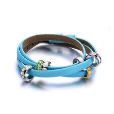 Light Blue Genuine Leather Bracelet - Bead Crystal and Stainless Steel Bracelet