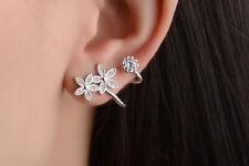 925 Sterling Silver Plated Ear Crawler Cuff Climber Earrings Crystal CZ Women