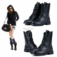 FT New Women's Cool Black  Military Army PUNK Knight Lace-up Short Shoes