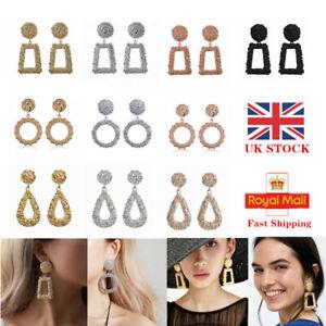 UK Fashion Square Large Geometric Earrings Drop Gold Silver Metal Dangle Trendy