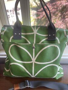 Orla Kiely Linear Stem Green Messenger / Crossbody Bag - EUC