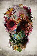"Colorful Flower Sugar Skull Poster 24x36"" Art Print Rainbow Hipster Home Decor"