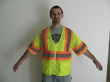 NEW ANSI CLASS 3 SAFETY VEST MESH LIME 2 INCH REFLECTIVE STRIPING SILVER ORANGE