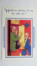 1950s Comic Postcard Grandfather Long Case Clock Horology Brass Pendulum Weight