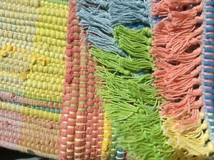 NEW Accent RAINBOW Rag RUG Pink BLUE Yellow GREEN Fringe THROW Cotton 25x39 AREA