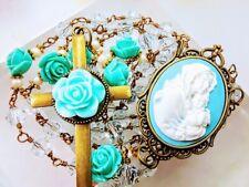 Beautiful Vatican Style Aqua Blue Mary Cameo Blue Crystal Rosary ALL SWAROVSKI