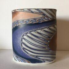 Vintage Pottery Vase Slab blue and ocean organic Studio Art circular
