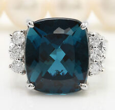 8.90 CTW Natural London Blue Topaz and Diamonds in 14K White Gold Ring