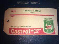 UN-USED  CASTROL MOTOR OIL TAG THIN CARDBOARD
