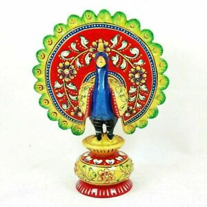 Peacock Hand Carved Painted Wooden Idol Statue Home Décor Showpiece Gift #UK85