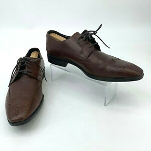 Saks Fifth Avenue Levine Leather Dress Shoes Mens Size 9 M Brown Business Oxford