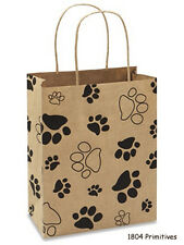 "5 Paw Print Paper Gift Bags w/ Handles for Dog or Cat ~ 10.25"" x 8"" x 4.5"""