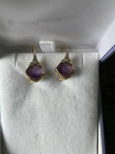 18k yellow gold Amethyst with diamond earrings Goldmark