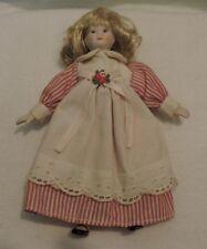 Vintage Blonde Porcelain Doll with Original Dress