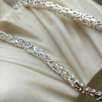 Herren Königs Kette Silber925 Vierkant Glänzend Halskette Länge 65 cm Breite 5mm