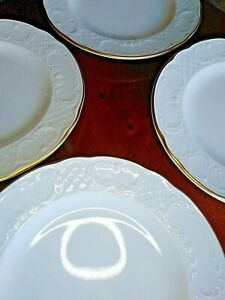 Schonwald Germany Porcelain Marquis Embossed Salad Plate Gold Trim White LOT 4