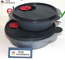 Tupperware CrystalWave Set of 2 Containers Shallow Round & Divided Cosmos Black