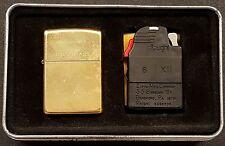 Zippo 1996 Solid Brass Unstruck Lighter & Ziplight in Tin Collector's Item
