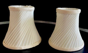 "2 Swirl Fabric Eggshell Clip On Lamp Shades  4.5"" Tall 5"" Bottom 3.25"""
