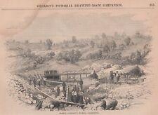 1854 Two Fine Engravings - CALIFORNIA GOLD MINING - Barton's Bar - Ross's Bar