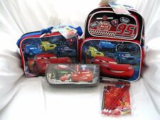 "Disney The Cars McQueen Racing 12"" Backpack,Lunchbox,Pencil Case+Stationary-N"