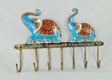 COLORFUL ELEPHANT DESIGN PAINTED WALL IRON HAND CRAFTED HANGER 6 HOOKS