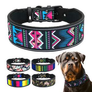 4/5cm Wide Floral Reflective Dog Collar Medium Large Adjustable Rottweiler SML