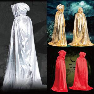 Lang Vampir Witchcraft Kapuzenumhang Hexe Kap Mantel Robe Umhang Halloween Mo*n