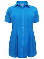 Woman Within ladies blouse shirt top plus size 16/18 blue front pintucks