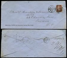 RAILWAY GB QV 1871 MANCHESTER SHEFFIELD + LINCOLNSHIRE ENVELOPE