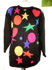 Damen Pullover Winterpulli Oversize schwarz - bunte Herzen Sterne Punkte 42- 44 a1f1b28327