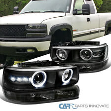 99-02 Silverado 00-06 Tahoe Suburban Black LED Projector Headlights+Bumper Lamps