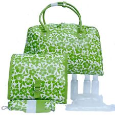 NEW Green Floral Oilcloth/Leather Weekend Holdall Travel Hand Luggage & Wash Bag