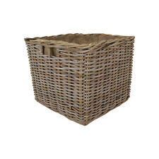 KUBU LARGE SQUARE RATTAN WICKER LOG BASKETS WITH LINERS & INSET HANDLES