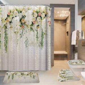 1 Set Waterproof Bathroom Non-Slip Toilet Cover Bath Mat Shower Curtain Rose