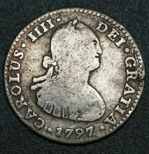 1797 FM Mexico 1 Reale Milled Bust King Charles IIII US Colony Silver Cob Coin