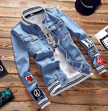 Mens VINTAGE Retro Coat Denim Blue Outwear Mans Long Sleeve Striped Jeans Jacket