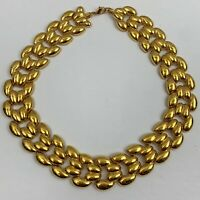 Vintage Chunky Runway Style Shiny Gold Tone Statement Necklace Wide Link Chain