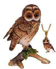NEW JEWELLERY BOX HIDDEN TREASURE TRINKET BOX TAWNY OWL W NECKLACE
