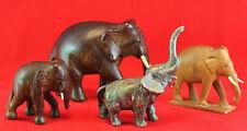Elephant Figure Figurine Carved Wood & Metal Lot of 4 Vintage Mom Baby