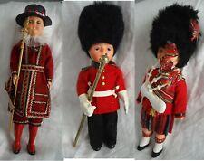 Vintage English Royal Guard Souvenir Doll Set (3) with Eyes Open/Close - Unique